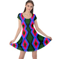 Quadrate Repetition Abstract Pattern Cap Sleeve Dresses