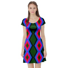 Quadrate Repetition Abstract Pattern Short Sleeve Skater Dress
