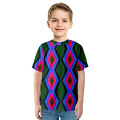 Quadrate Repetition Abstract Pattern Kids  Sport Mesh Tee
