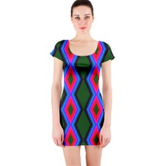 Quadrate Repetition Abstract Pattern Short Sleeve Bodycon Dress