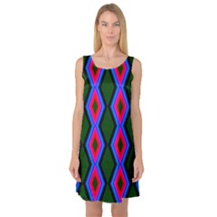 Quadrate Repetition Abstract Pattern Sleeveless Satin Nightdress