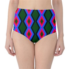Quadrate Repetition Abstract Pattern High-Waist Bikini Bottoms