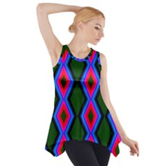 Quadrate Repetition Abstract Pattern Side Drop Tank Tunic