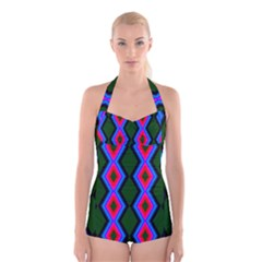 Quadrate Repetition Abstract Pattern Boyleg Halter Swimsuit