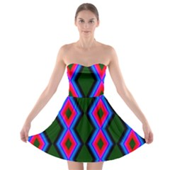 Quadrate Repetition Abstract Pattern Strapless Bra Top Dress