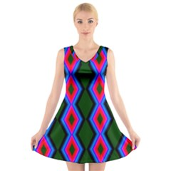Quadrate Repetition Abstract Pattern V Neck Sleeveless Skater Dress