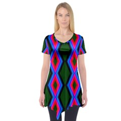 Quadrate Repetition Abstract Pattern Short Sleeve Tunic