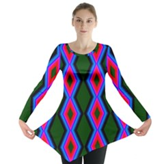 Quadrate Repetition Abstract Pattern Long Sleeve Tunic