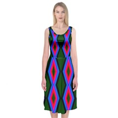 Quadrate Repetition Abstract Pattern Midi Sleeveless Dress