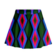 Quadrate Repetition Abstract Pattern Mini Flare Skirt