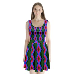 Quadrate Repetition Abstract Pattern Split Back Mini Dress