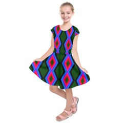 Quadrate Repetition Abstract Pattern Kids  Short Sleeve Dress