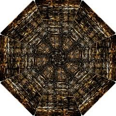 Wood Texture Dark Background Pattern Hook Handle Umbrellas (Small)