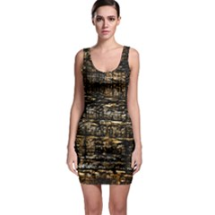 Wood Texture Dark Background Pattern Sleeveless Bodycon Dress