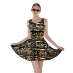 Wood Texture Dark Background Pattern Skater Dress