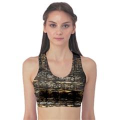 Wood Texture Dark Background Pattern Sports Bra