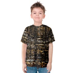 Wood Texture Dark Background Pattern Kids  Cotton Tee