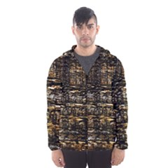 Wood Texture Dark Background Pattern Hooded Wind Breaker (Men)