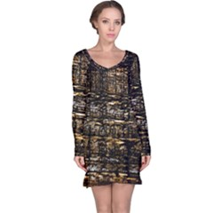 Wood Texture Dark Background Pattern Long Sleeve Nightdress