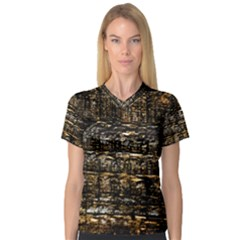 Wood Texture Dark Background Pattern Women s V-Neck Sport Mesh Tee