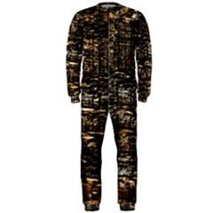 Wood Texture Dark Background Pattern OnePiece Jumpsuit (Men)