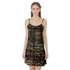 Wood Texture Dark Background Pattern Satin Night Slip
