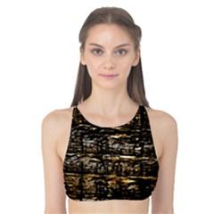 Wood Texture Dark Background Pattern Tank Bikini Top