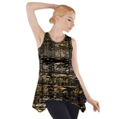Wood Texture Dark Background Pattern Side Drop Tank Tunic