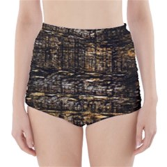 Wood Texture Dark Background Pattern High Waisted Bikini Bottoms