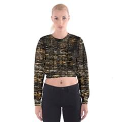 Wood Texture Dark Background Pattern Cropped Sweatshirt