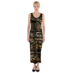 Wood Texture Dark Background Pattern Fitted Maxi Dress