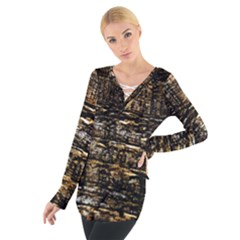 Wood Texture Dark Background Pattern Women s Tie Up Tee