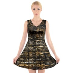 Wood Texture Dark Background Pattern V-Neck Sleeveless Skater Dress