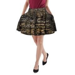 Wood Texture Dark Background Pattern A-Line Pocket Skirt