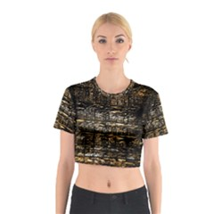 Wood Texture Dark Background Pattern Cotton Crop Top