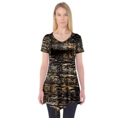 Wood Texture Dark Background Pattern Short Sleeve Tunic