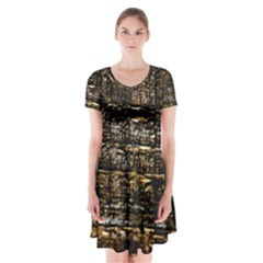 Wood Texture Dark Background Pattern Short Sleeve V-neck Flare Dress