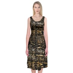 Wood Texture Dark Background Pattern Midi Sleeveless Dress