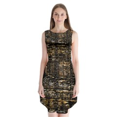 Wood Texture Dark Background Pattern Sleeveless Chiffon Dress