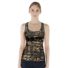 Wood Texture Dark Background Pattern Racer Back Sports Top
