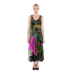 Hatha Yoga On Flowers Sleeveless Maxi Dress