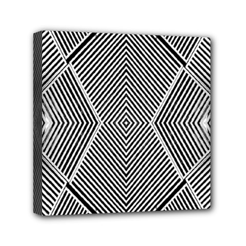 Black And White Line Abstract Mini Canvas 6  x 6