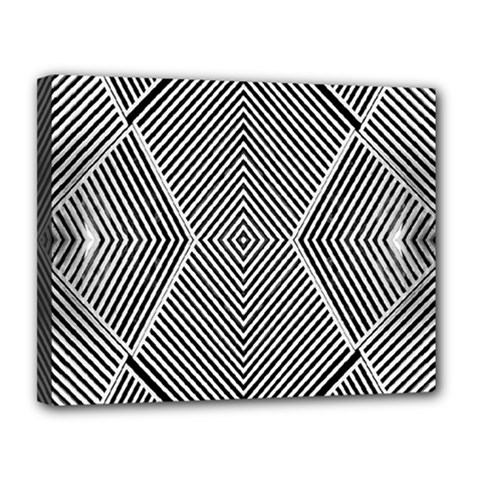 Black And White Line Abstract Canvas 14  x 11