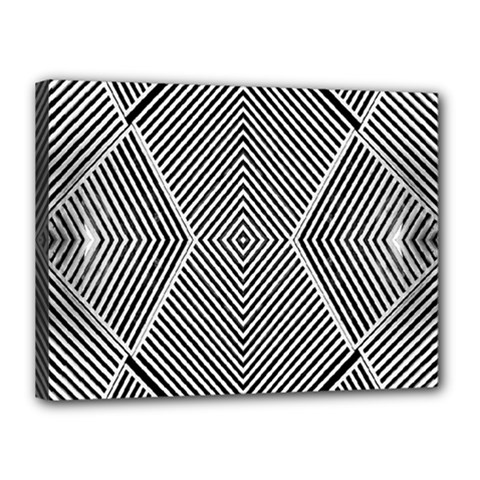 Black And White Line Abstract Canvas 16  x 12
