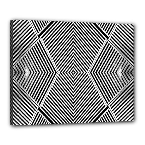 Black And White Line Abstract Canvas 20  x 16