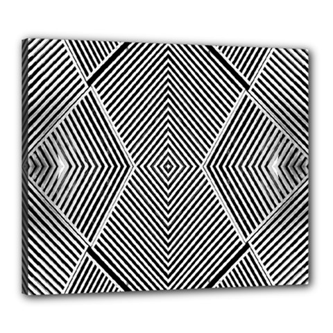 Black And White Line Abstract Canvas 24  X 20