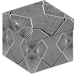 Black And White Line Abstract Storage Stool 12