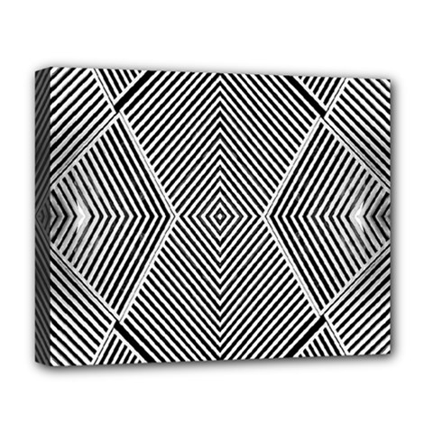 Black And White Line Abstract Deluxe Canvas 20  X 16