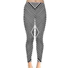 Black And White Line Abstract Leggings