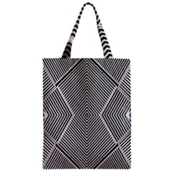 Black And White Line Abstract Zipper Classic Tote Bag